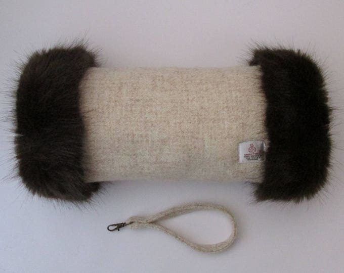 Harris Tweed Oatmeal Hand Muff with Chocolate Brown Faux Fur Trim