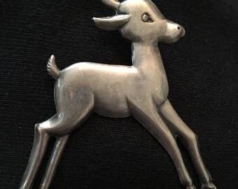 Sterling Baby Deer Brooch / Pin