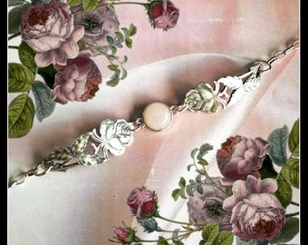Handmade solid silver and pale pink spoon rose bracelet