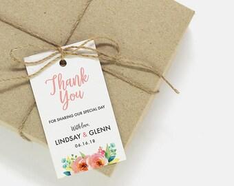 Thank You Tags   Printable thank you tags, favor tags, wedding card template, printable wedding party tag, favor tag, thank you card CA-03