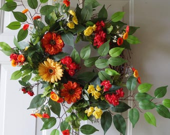 Fall Wreath, Summer Wreath, Large Door Wreath Orange Red Yellow Gerbera Roses Wreath 28in