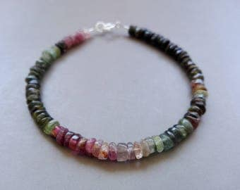 Braclet multicolored Tourmaline and simple sterling silver