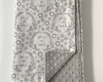 Baby Crib or Stroller Blanket with Gray Minky Backing You Are Loved With Birds and Flowers