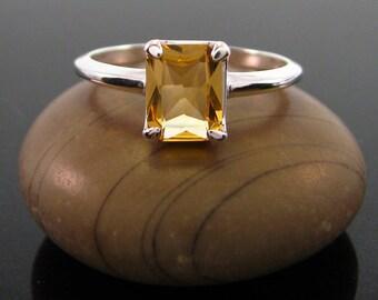 citrine ring, Citrine Ring sterling silver size 3 4 5 6 7 8 9 10 11 12 13 silver 925 ring November Birthstone Ring  genuine citrine