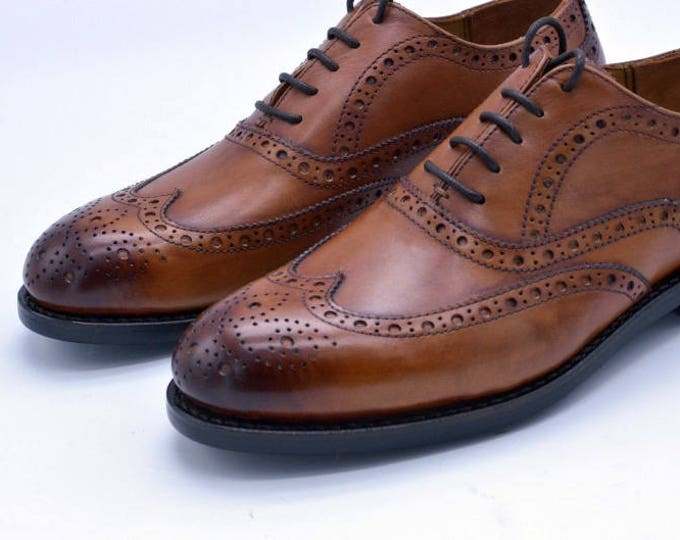 Brogue Carving Men's Shoes,Derby Pattern,Handmade Goodyear Welted Men Shoes