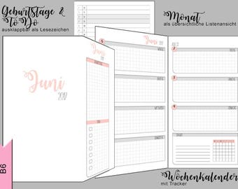 B6 calendar pads - 3 months - monthly & weekly overview, Tracker - can be folded out