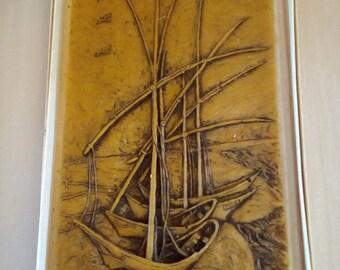 nice old wax image 34 x 16 cm, beautiful old wax image 34 x 16 cm