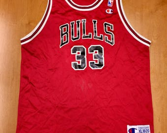 Vintage 90s Chicago Bulls Scottie Pippen Youth Champion Jersey jordan rodman kukoc grant kerr harper longley armstrong paxson brand arkansas
