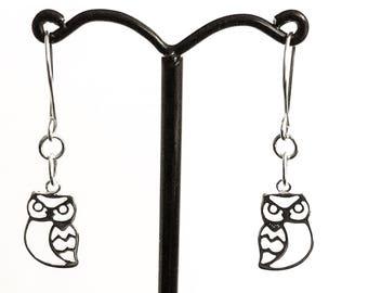 Owl earrings - owl charm dangly earrings - sterling silver - bird earrings