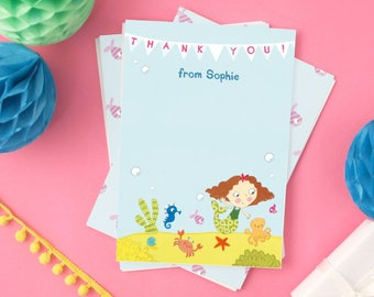 Personalised Girl's Mermaid Thank You Cards (choose the hair colour) -- Minimum order 8