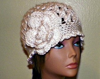 On Sale- Ivory Cloche Hat Flapper Womens Downton Abby Freeform Beanie Cream Crochet Gatsby Bucket 1920s Style