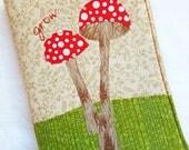 Grow Mushroom Quilted Journal / Journal Diary / Journal Notebook / Writing Journal / Fabric Journal / Handmade Journals / Small Gift Idea