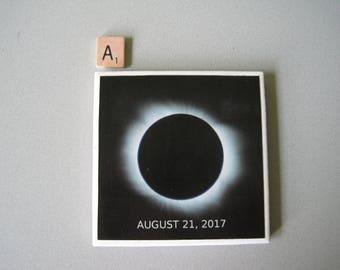 Solar Eclipse 2017 Themed Ceramic Tile Coaster