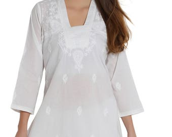 India White Hand Embroidered  Chikankari beach cover up / Kurti /Top/Tunic/ kurta   women/ladies/girls  Plus size also available