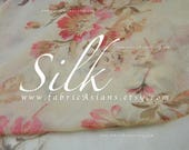 Pink Roses Beige Silk Chiffon fabric by the yard
