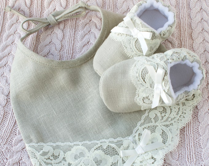 linen and lace bib and shoes