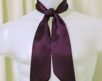 Dark Grape Purple Silk Charmuse Satin Fabric, Ascot/Jabot Tie with Pointed Ends