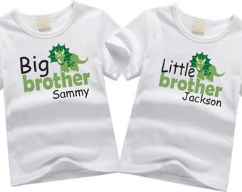 Personalized brother shirts. Sibling shirt set. Big brother, little brother. Custom sibling shirt SET OF 2. Big and little brother dinosaurs