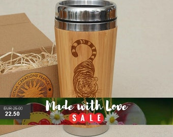 Customized Engraved Bamboo Wood Travel Mug ''TIGER'', Car or Desk Coffee, Tea Cup Stainless Steel with Rubber Mounted Plastic Mug