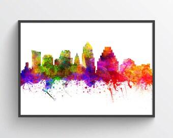 Austin Skyline Art Print, Austin Poster, Austin Cityscape, Austin Decor, Home Decor, Gift Idea, USTXAU02P
