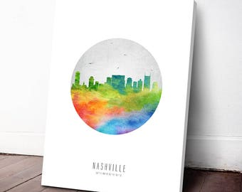 Nashville Skyline Canvas Print, Nashville Cityscape, Nashville Art, Nashville Decor, Home Decor, Gift Idea, USTNNA20C