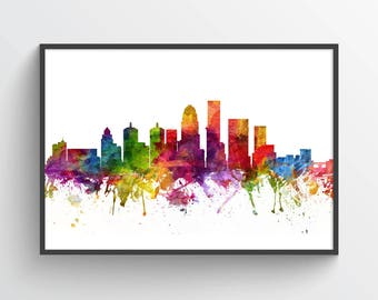 Louisville Kentucky Skyline Poster, Louisville Cityscape, Louisville Print, Louisville Art, Louisville Decor, Gift Idea, USKYLO06P