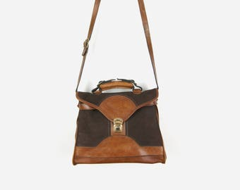 Vintage 70s Large Brown and Cognac Leather Handbag / Suede & Leather Satchel Bag / Cross body, Crossbody Saddle Purse / Distressed Look