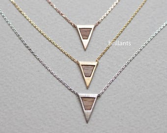 Wood Triangle necklace, Arrow necklace, Geometric necklace, Layering, Bridesmaid gif, Wedding necklace, Minimal, Simple