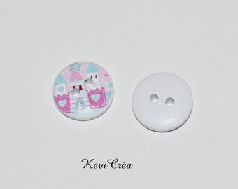 5 x White Castle Princess pink 15mm wooden buttons
