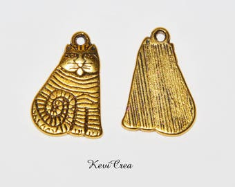 5 x charms gold tone cat charms