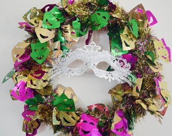 Mardi Gras Tinsel Mask Wreath, Mardi Gras Wreath, Front Door Wreath,