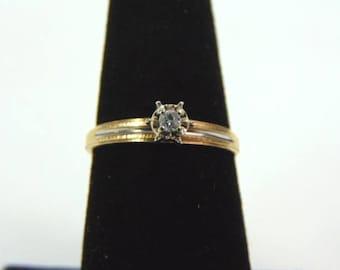 Womens Vintage Estate 10K Yellow & White Gold Diamond Ring 1.4g E3246