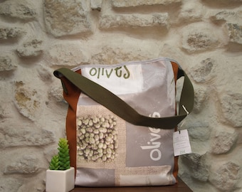 Large olive waxed canvas tote bag