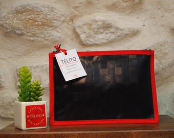 Black and Red Plaid oilcloth pouch