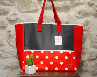 Large red polka dot oilcloth Tote