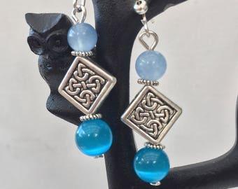 Blue Aventurine and Mexican Opal bead Earrings