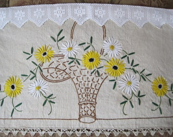 Embroidered Vintage Pelmet, Curtain, Shelf Decor, French Cottage Craft Exquisite Hand-Made, Door Hanging