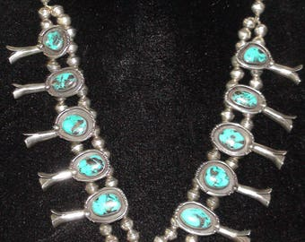 Native American Navajo Sterling Silver Carlin Turquoise Squash Blossom Necklace 28 Inches