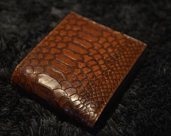 Crocodile, Reptile Embossed Leather Wallet / Brown and Creamy Leather Wallet, Bifold Wallet, Leather Wallet, Leather Bifold