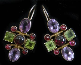 80's modern Renaissance gilded sterling amethyst peridot garnet dangles, hand made gemstone 925 silver vermeil geometric earrings, SI China