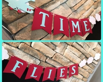 Vintage Airplane Banner, time flies banner, airplane banner, vintage airplane party, time flies sign, vintage airplane party theme