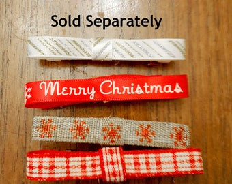 Cute Holiday Bow Barrettes, Choose one of four festive ribbons on French Barrettes or Alligator Clips