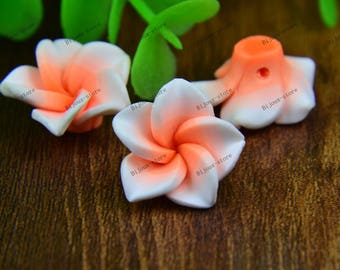 Set of 6 small flowers in polymer clay 20mm white kernel powder (SZ010)