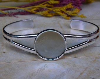 x 12 medium silver plated 20 mm cabochon (SJ042) Bracelet