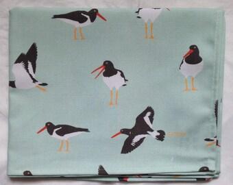 Oystercatcher tea towel - oystercatcher kitchen towel - oystercatcher print on light blue background - in 100% cotton