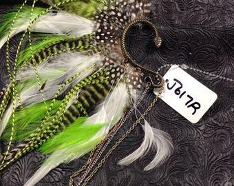 OOAK Tribal Feathered Ear Cuff // Burning Man // Festival // Belly Dance // Gypsy // Steampunk //Incognito J617R