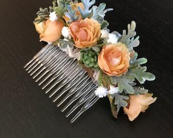 Spray rose hair comb, bridal hair comb, decorative hair comb, wedding hair comb