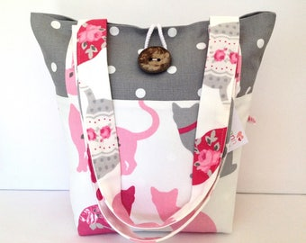 Tote Bag, Cats & Grey Dotty Tote Bag, Small Lunch Bag, Small Tote Bag,