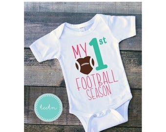 ON SALE Girls My First Football Season One Piece Bodysuit | My 1st Football Season Infant Bodysuit | Football Bodysuit | Girls Outfit | Baby