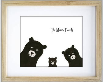 Nursery Bear Family. Three Bears Mum Dad Baby Bear. Add names and DOB. Personalise Bear Family. Bear Family with one two three Bear Cubs